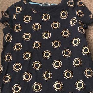 T-Shirt Navy Gold Shift Dress NWOT